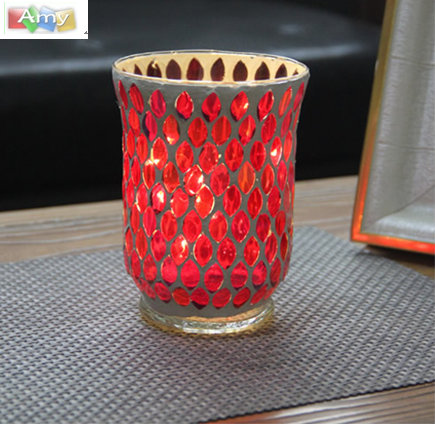 Factory directly supply Monkey Pod Wood With Iron Steel - Seashell design crackle mosaic glass candle holders – Amy