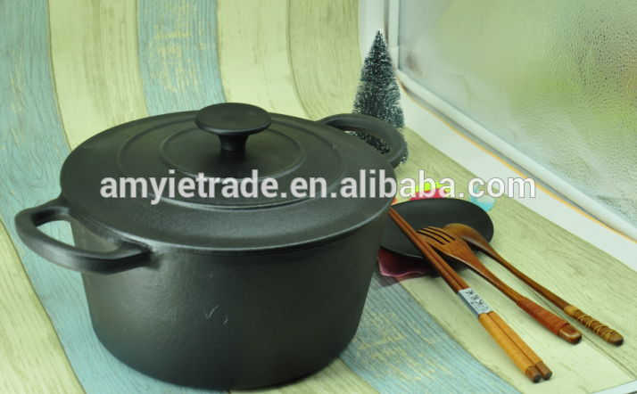 Hot-selling Best Selling Porcelain Enamel Cookware - Black Round Enamel Cast Iron Casserole – Amy Featured Image