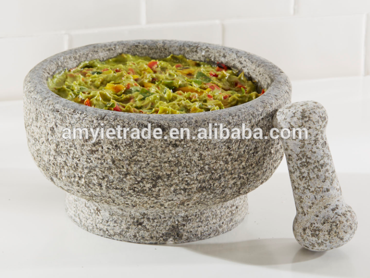 Factory supplied Unique Best Home Kitchen Cooking Dining Utensils - 21.5cm granite stone molcajete mortar & pestle set – Amy