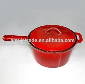 2QT enamel cast iron saucepan with lid