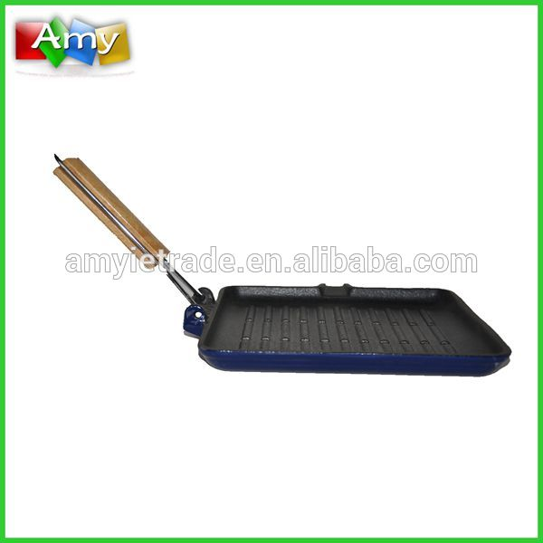 SW-F064B cast iron ribbed griddle/grill pan with foldable wire handle