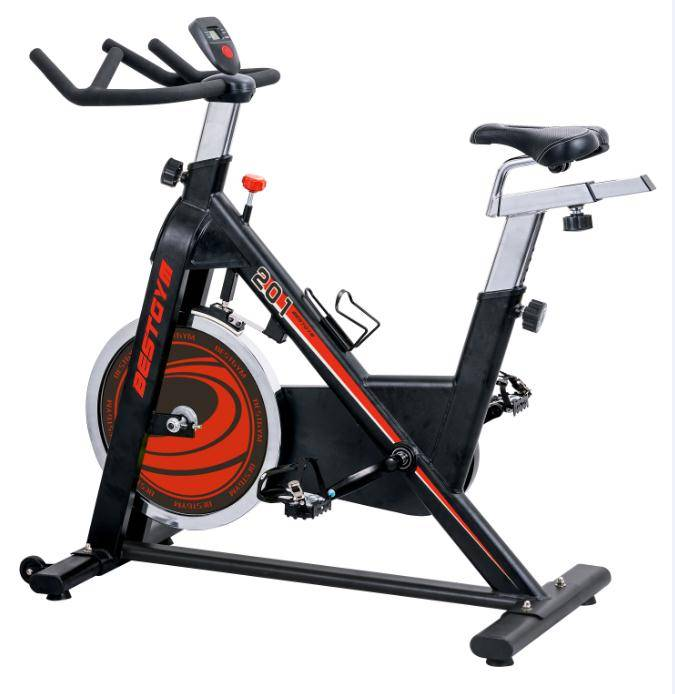 Indoor Cycle Exercise Stationary Bike with LCD Monitor, 40 LB Chrome Flywheel