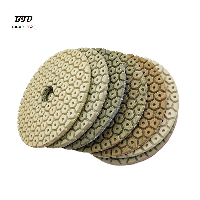Factory Price For Terrazzo Polishing Pads - 4″ 100mm Diamond Polishing Resin Pad for polishing concrete and stones – Bontai