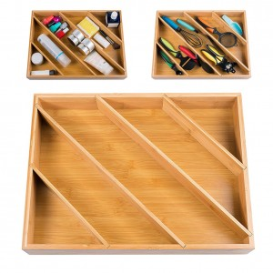 18 Years Factory China Kitchen Adjustable Bamboo Expandable Utensil Drawer Tool Storage Box Organizer Silverware Cutlery Tray with MDF