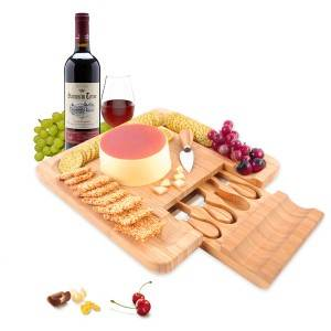 2018 wholesale price Bamboo Wood Food Serving Board - Kitchen accessories Bamboo Cheese Board & knife Set Charcuterie Serving Tray House Warming Gift Best Choice China Supplier – Bridge ...