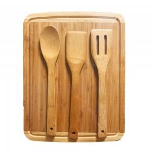 Bamboo Cutting Board With 3pcs Utensils Set Perfect Size for Your Kitchen Countertop