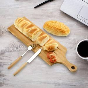New Fashion Design Bamboo Board Bamboo Bread Cheese Board Set with Groove and handle