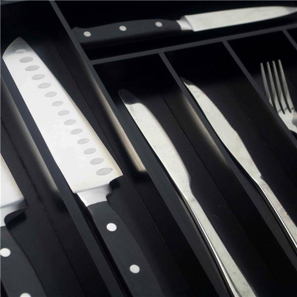 Best Price on Kitchen Utensil Holder - Bridge Style BambooCustom Flatware Drawer Organizer Expandable Silverware Drawer Organizer Kitchen Utensil Holder and Cutlery Tray 7-9 Slot with Black Painting  – Bridge Style