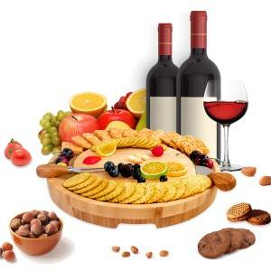 "2018 wholesale price Charcuterie Board Accesories - Bamboo Cheese Board and Knife Set round Charcuterie Board Set Large (13.7""x 13.7"") with Drawer Serving Forks, Cheese Knives, Ideal Wedding Gift,..."