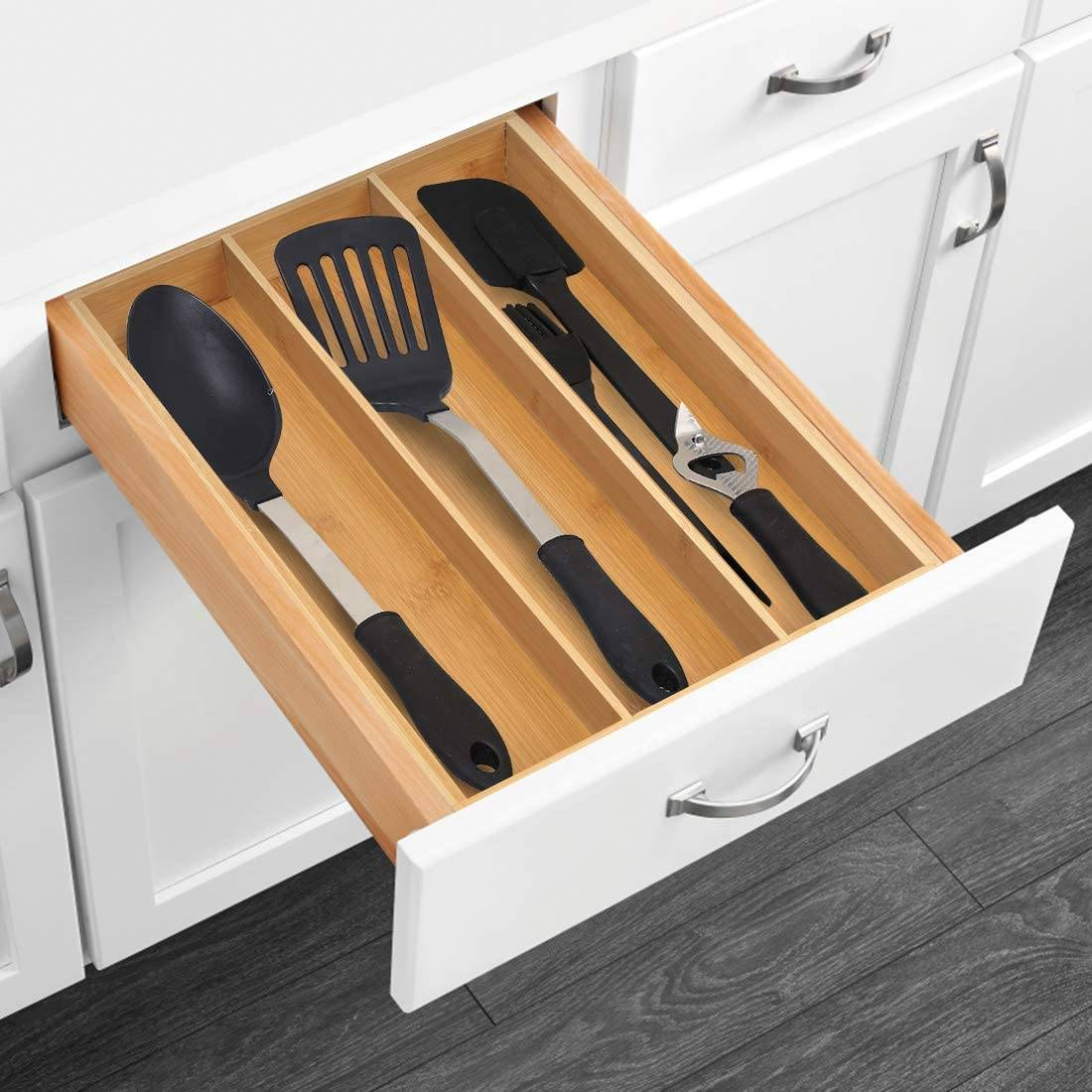 Fixed Competitive Price Kitchen Utensils - Factory Selling China Adjustable Bamboo Expandable Utensil/Cutlery Tray Drawer Organizer – Bridge Style detail pictures