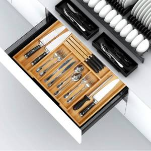 OEM Supply China Bamboo Silverware Drawer Organizer Kitchen, Expandable Utensil Holder and Cutlery Tray with Divider and Knife Block