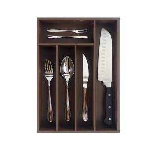 Competitive Price for Color Drawer Organizer Tray Set - Bridge Style Bamboo Cutlery Tray Kitchen Utensil Silverware Flatware Drawer Organizer Dividers with 5 Compartment- Brown Color – Bridg...