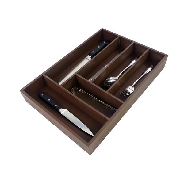 China Supplier Drawer Dividers - Wholesale Utensil Drawer Organizer, Cutlery Tray Desk Drawer Organizer Silverware Holder Kitchen Knives Tray Drawer Organizer, 100% Pure Bamboo Cutlery brown Color 6 slot  – Bridge Style
