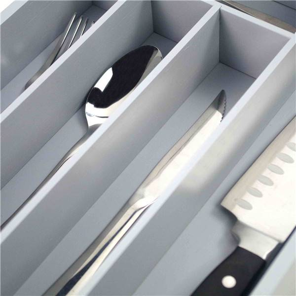 China wholesale Adjustable Drawer Organizers - Wholesale Premium Bamboo Utensil Drawer Organizer, Drawer Divider Silverware Organizer utensil cutlery tray- 5 Compartments with Grey painting – Bridge Style