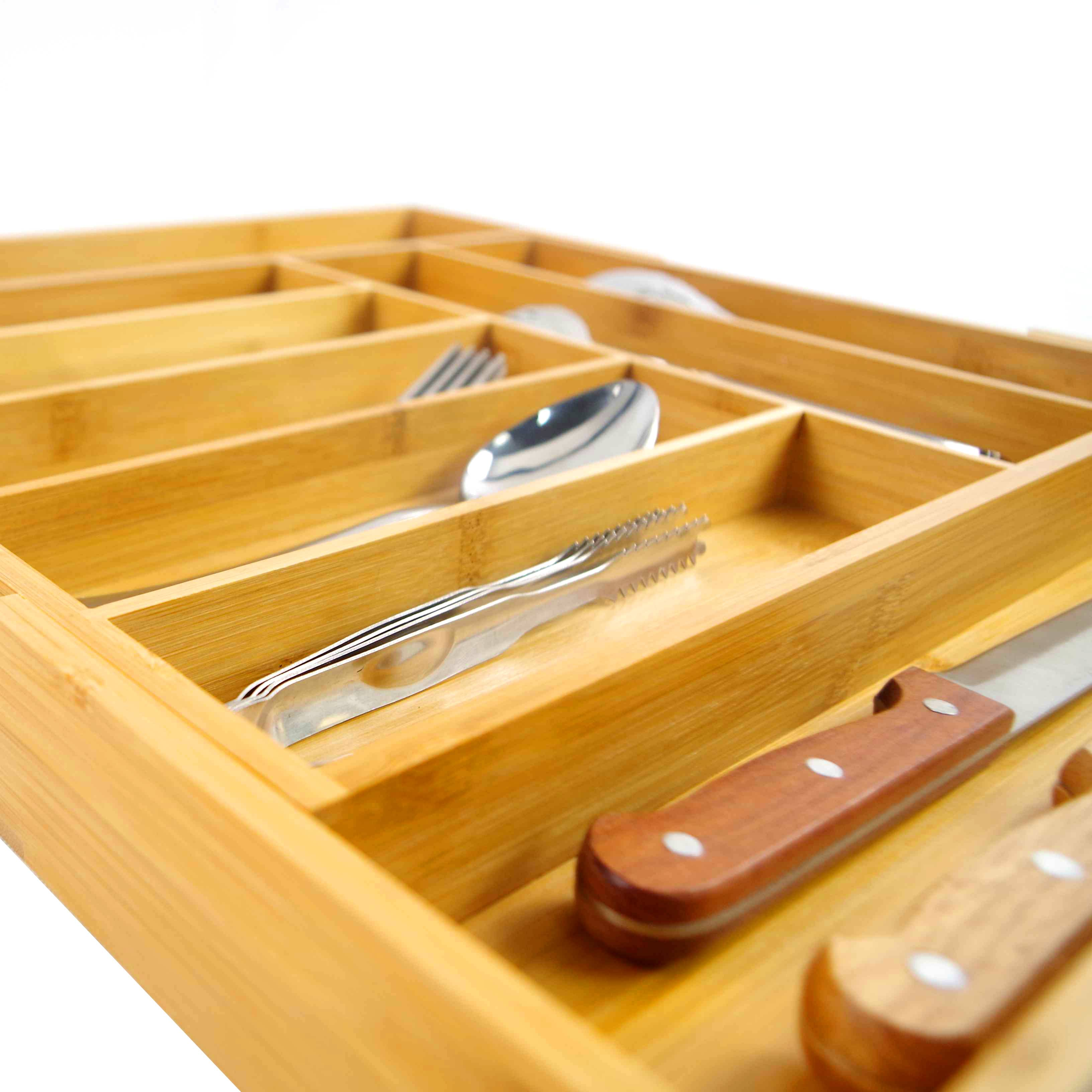 Wholesale Price Wood Cutlery Tray - Free sample for China Cheap Price Bamboo Kitchen Drawer Organizer with 7-9 Compartments, Deep Silverware Organizer, Utensil Organizer, Silverware Tray – Bridge Style
