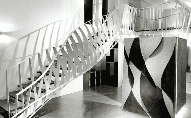 Laser cut steel to create dancing stairs