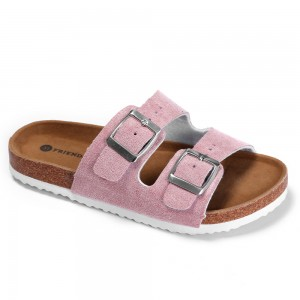 New Design Summer Fashion Girls Shoes With 2 Buckle Straps Cork Memory Foam Foot-bed Girls Slides Sandals