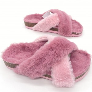 New Design Cross Band Plush Slippers Girls Boys Kids Children bio Sandals For Winter Indoor Slides Slip-on