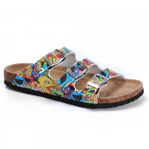 Lovely Women's 3 Buckles Straps Sandals with Cork Foot-bed and New Cartoon Printing