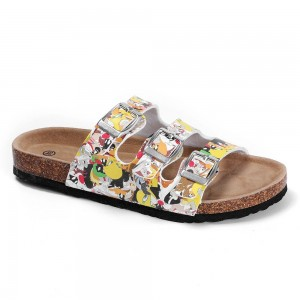 Teenagers and Children Cross Straps cork foot bed Sandals for Boys and Girls with Beautiful Cartoon Printing