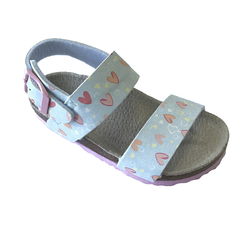 Prime Quality Toddler Girls Cork Footbed Sandals With Sweet Heart Print Featured Image