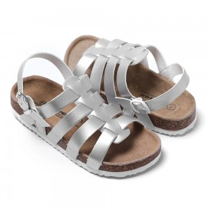2021 New Style Kids Girls Fashion Summer Sandals Glossy PU Princess Shoes with Cow Suede & Cork Foot-bed