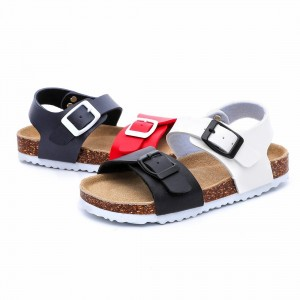 2019 High quality China 2019 Latest Design Fashion kids Slippers Flat Cork Foot Bed Slide Casual Sandals