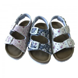 New Design Beautiful Toddler Girls Cork Footbed Sandals With Flower Prints