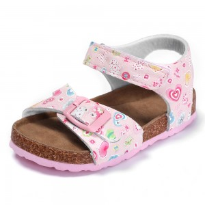 2021 Fashion Pink Loving Heart with Comfortable Leather Insole and Cork Sole Foot-bed Kids Girls Sandals
