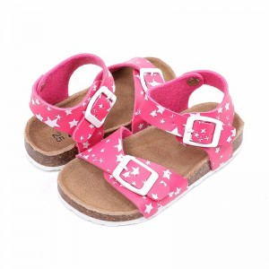 Wholesale New Arrival Patent leather Children Girls Sandals, Kids Summer Shoes with soft cork sole and stars print