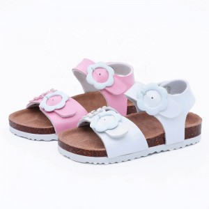 Hotsale Fashion Children Floral Sandals for Toddler Girls with Flower Buckle and Arch Support Cork Sole Foot-bed