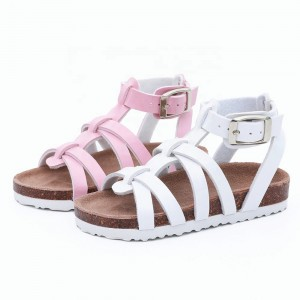 High Quality Pretty and Fashion Girls Dress Sandals with Comfortable Leather Insock and  Cork Sole Foot-bed