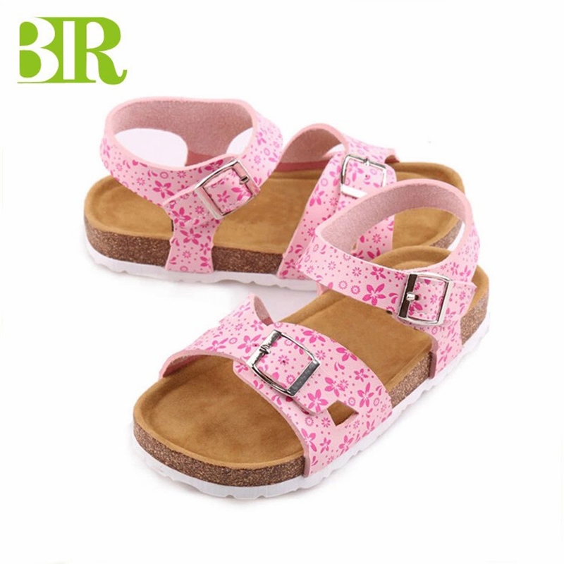 Hot Sale Summer Open Toe buckle sandals cork sole kids sandals Featured Image