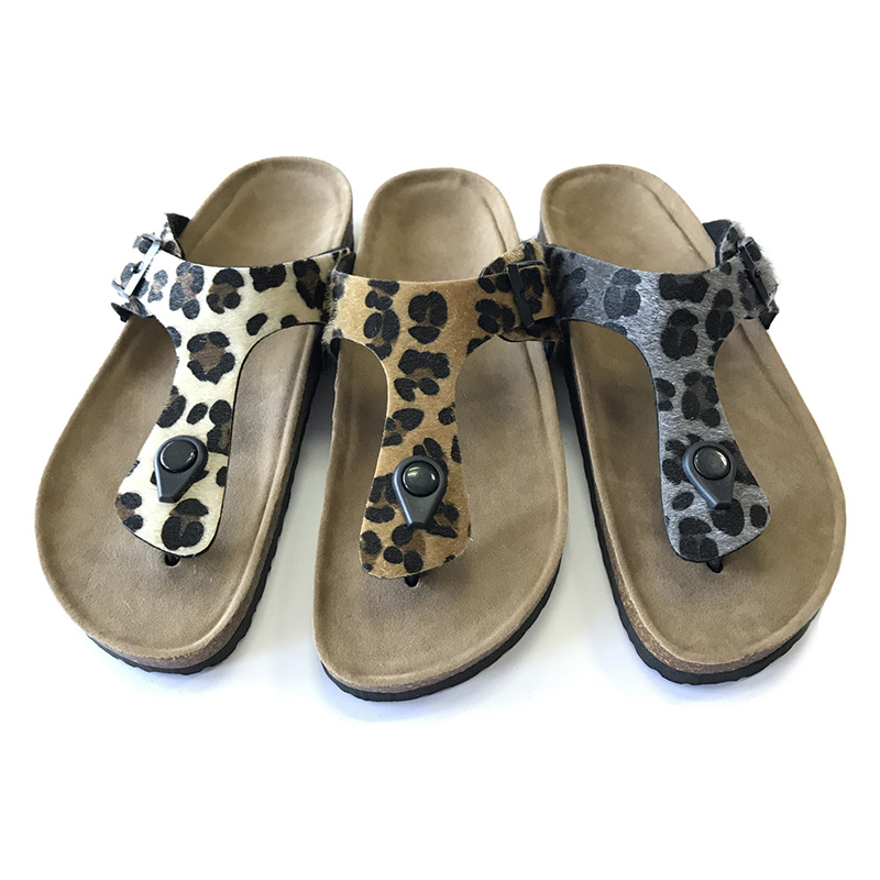 Low price for Girls Ankle Snow Boots - New Fashion Leopard PU Upper Women Thong Sandals For Summer With Bio Cork Foot-Bed sole – BYRING detail pictures