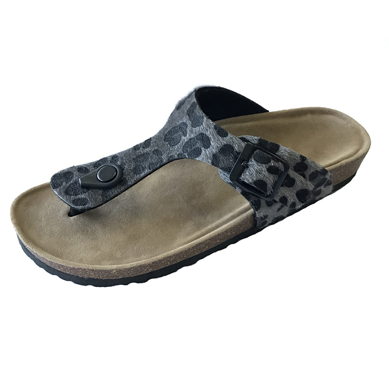 Cheapest Factory Warm Home Shoes - New Fashion Leopard PU Upper Women Thong Sandals For Summer With Bio Cork Foot-Bed sole – BYRING