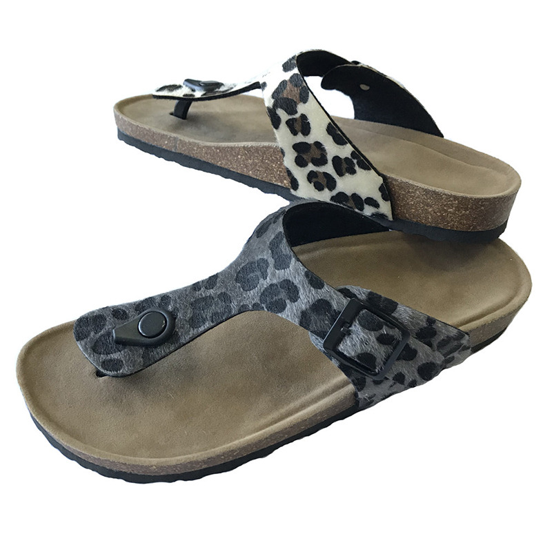 Cheapest Factory Warm Home Shoes - New Fashion Leopard PU Upper Women Thong Sandals For Summer With Bio Cork Foot-Bed sole – BYRING detail pictures