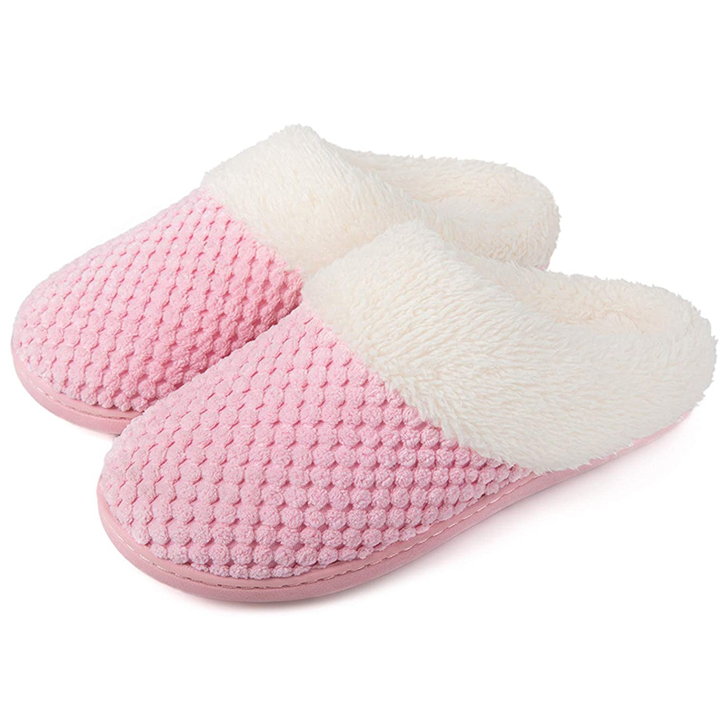 Prime Quality Women's Cozy&Comfort Coral Fleece Memory Foam Slippers Fuzzy Plush Lining Slip-on House Shoes for Indoor & Outdoor Use Featured Image