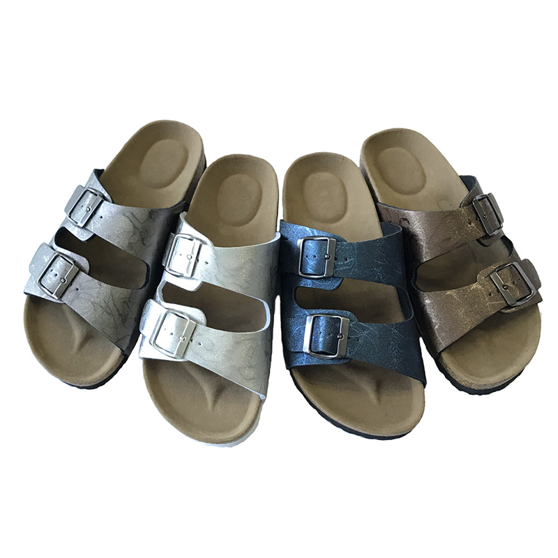 Wholesale Price Lady comfort sandals - Wholesale Fashionable PU Upper Footbed Cork Sole Flat Sandals Women Comfortable – BYRING