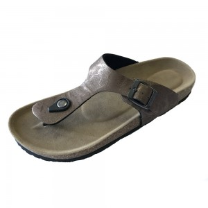 Classic casual comfort thong sandal with cork footbed for lady