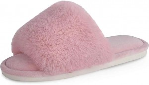 Women's Faux Fur Slippers Fuzzy Flat Spa Fluffy Open Toe House Shoes Indoor Outdoor Slip on Memory Foam Slide Sandals