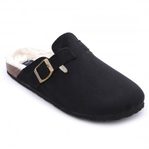 Women's Shearling Comfortable Foot-bed Cork Sole Clog Slippers