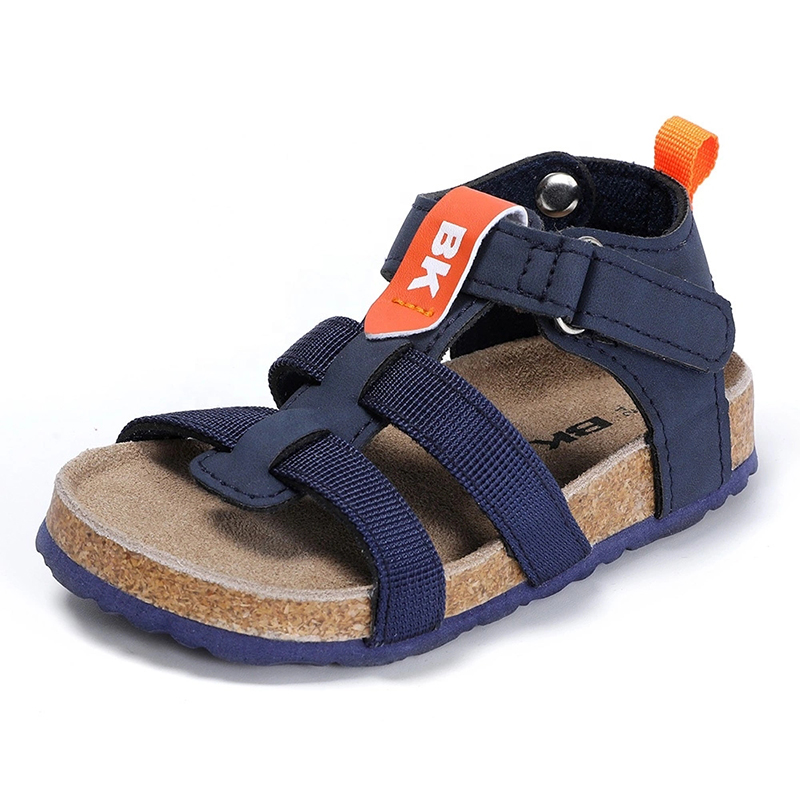 New Arrival Fashion Design High-class Nylon Straps Kids Toddler Boys Summer Cork Footbed Sandals Featured Image