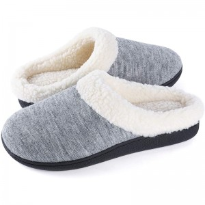 Good Memory Foam Indoor Outdoor Slippers for Women with Coral Fleece Lining, Non-Slip Home Shoes