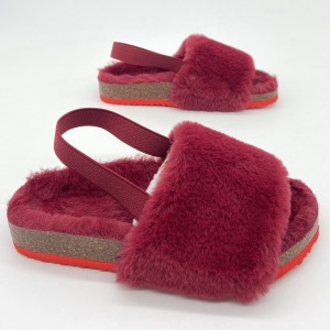 Byring Factory New Design Open-toe Soft Fur Slippers Girls Boys Slippers Indoor Winter Kids Children With Elastic Band