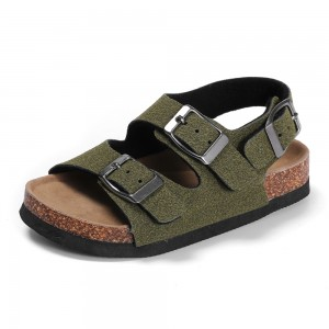 Byring Shoes Wholesale High Quality Kids Boys Buckle Straps Cork Foot-Bed Summer Sandals