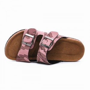 Wholesale Camouflage PU Upper Footbed Cork Sole Flat Sandals Women Comfortable
