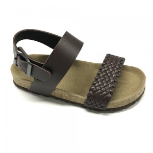 Byring Shoes New Boys Sandals With Design Cork Foot Bed Sole and Woven Pu Upper
