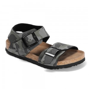 New Classic Camouflage Prints Leather Insole Cork Shoes With Buckle Straps For Boy Children Sandals