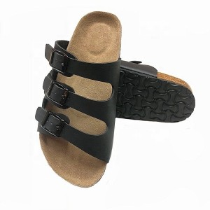 Men Casual Open Toe Cork Footbed Slippers Buckle Strap Leather Sandals