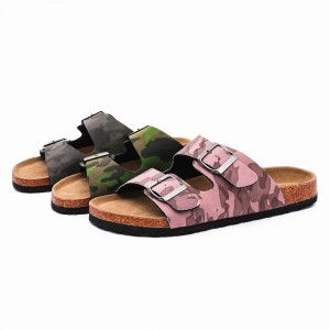 Wholesale Camouflage Pu Upper Cork Sole Flat Buckle Sandals Men Comfortable, Teenager Sandals